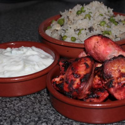 homemade tandoori chicken and jeera rice