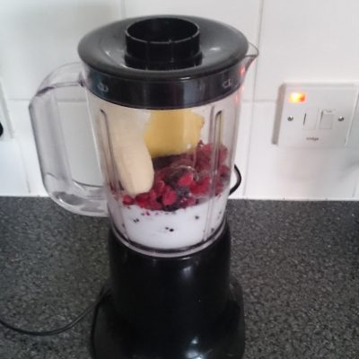 preparing the daily smoothy